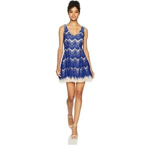 B Darlin Junior's Sleeveless Fit and Flare Lace Dr